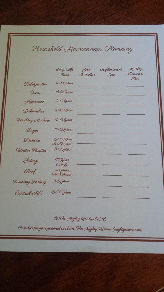 Household Maintenance Planning Printable